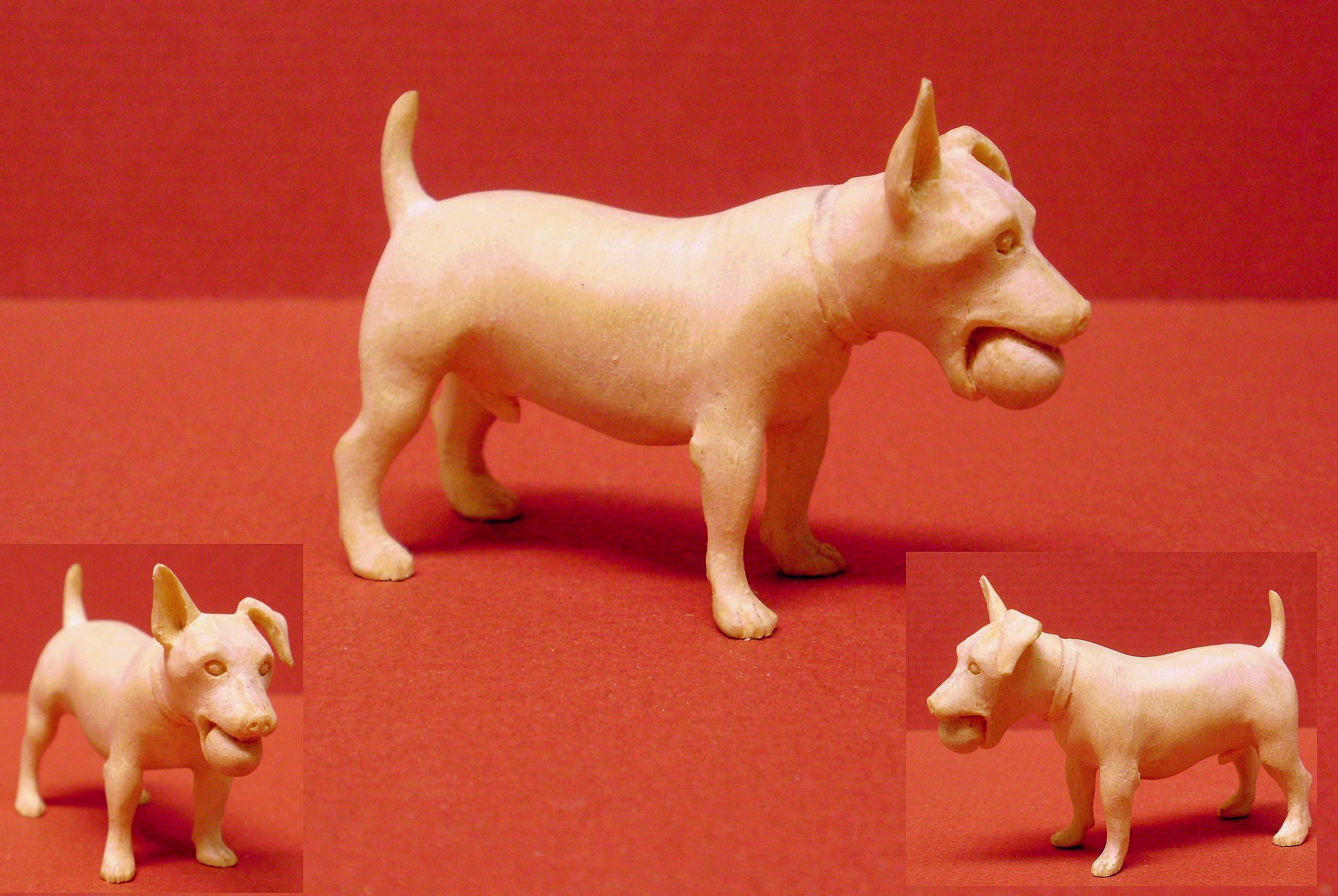 hand carved wood unpainted Jack Russel terrier