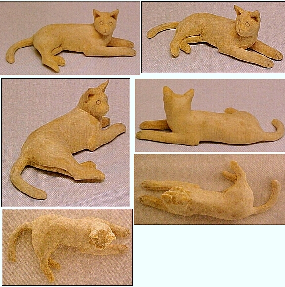 hand carved wood unpainted cats