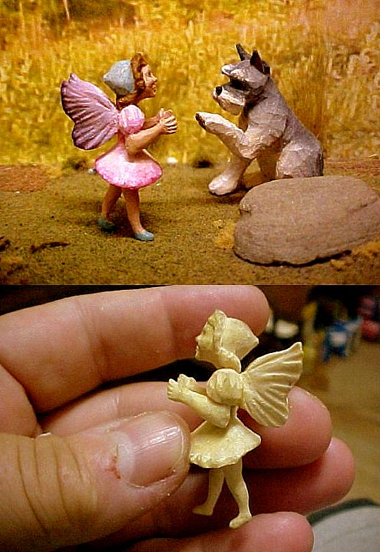 hand carved wood miniature girl fairy with schnauzer
