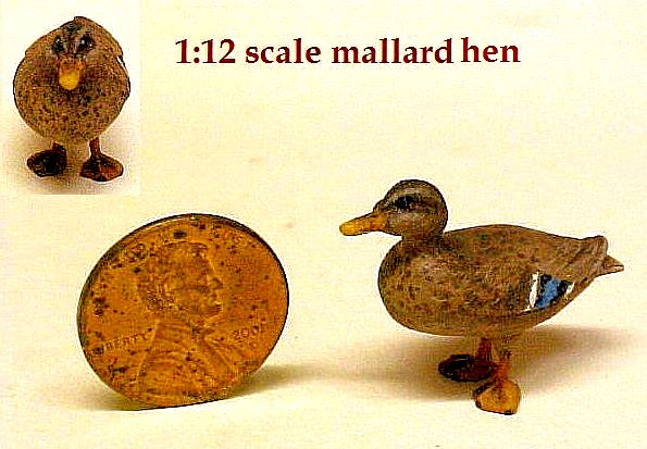 hand carved wood miniature duck