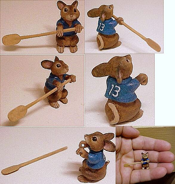 hand carved wood miniature custom mouse