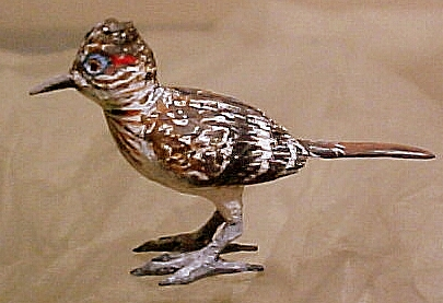 hand carved wood miniature roadrunner