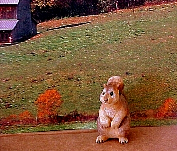 hand carved wood miniature squirrel