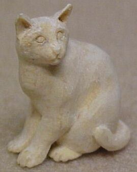 hand carved wood unpainted cat